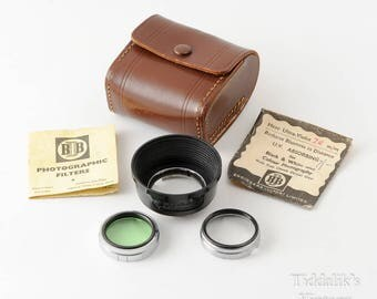 Vintage Kodisk Lens Hood 320 plus 2 Push Fit 32mm Glass Filter Holders with Green, UV and Close Up Filters, Case & Instructions