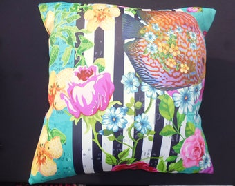 flowers and fish print cushion