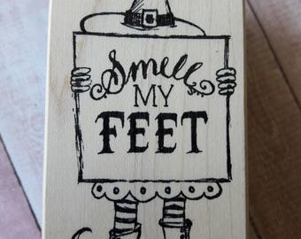 Smell My Feet Halloween Wood Mounted Rubber Stamp Scrapbooking And Paper Craft Supplies