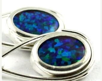 On Sale, 30% Off, Created Blue/Green Opal, 925 Sterling Silver Leverback Earrings, SE008