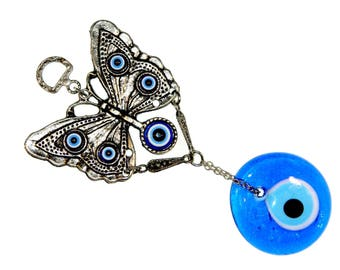 C-0205 - 5cm Lucky Evil Eye, Hamsa Butterfly Hanging Gift for Protection & Good Luck