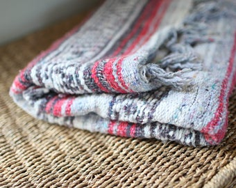 vintage striped red,  gray & white mexican fringe blanket