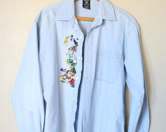 vintage oversized blue chambray embroidered looney toons shirt *