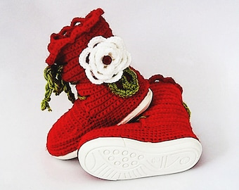 Crochet pattern- kids laced up boots with flowers for outdoor,boots with rubber soles,street shoes,toddler,girl,footwear,all kids sizes