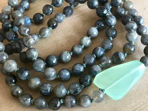 108 Labradorite Mala Beads, Chalcedony Wrist Mala, Third Eye Chakra Mala, Ajna Chakra Mala, Heart Chakra Mala, Labradorite Bracelet. Yoga