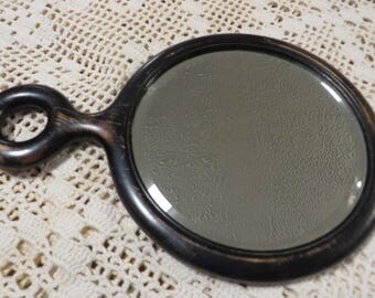 Antique MIRROR Hand Held Dresser Mirror // Ladies Vanity Mirror // Beveled Glass // Very Smooth Wood // Vintage Mirror Dark Wood Frame