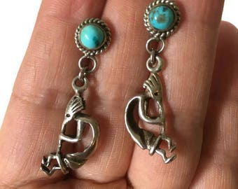 Native American Kokapelli Sterling Silver and Turquoise Earrings