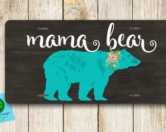 Bear License Plate. Custom License Plate. License Plate Frame. Monogram Car Tag. Classic Car Tag.Mama License Plate with Bear.