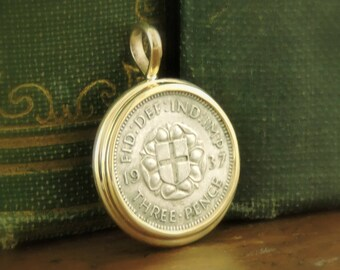 UK Coin Jewelry with George VI 1937 England Silver Threepence Handmade 14k Yellow Gold Setting