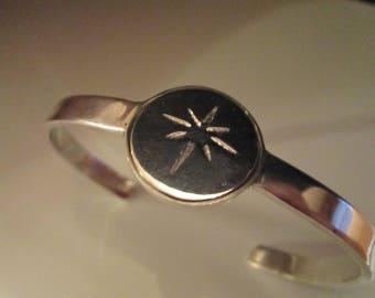 Star Of Bethlehem Cuff Bracelet In Sterling Sliver