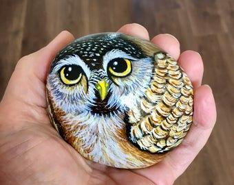 Owl painted pebble rock art bird