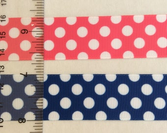 """Grosgrain ribbon with white polka Dots 1"""" Bright Pink True Blue"""