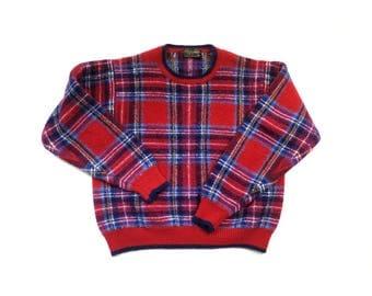 BROOKS BROTHERS Plaid Tartan Wool Pullover Sweater Jumper / Red Blue / M L / Vtg