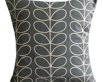 "Designer handmade decor Orla Kiely fabric dark grey floral stem cushion 16"" - 24"""