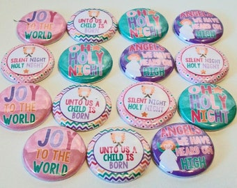 Pretty Christmas Carol Lyrics Joy to the World 1 Inch Flat Back Embellishments Buttons Flair Great for Bow Making