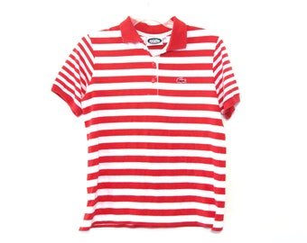Vintage 80s Izod Lacoste striped polo shirt red gator