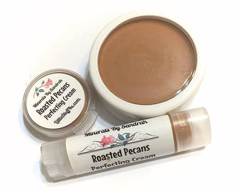 ROASTED PECANS Perfecting Cream Foundation - Creamy Foundation Concealer Makeup - Gluten Free Vegan