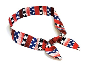 Patriotic Neck Cooler, Stars n Stripes Cooling Scarf, Red White Blue Cool Tie Spa Wrap, Gel Body Head Heat Relief Headband Bandana iycbrand