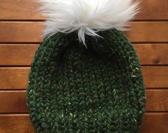 Handknit Winter Hat wirh Faux Fur Pom Pom | Okemo hat | Beanie with Faux Fur Pom Pom