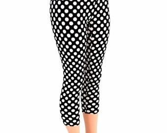High Waist Capri Leggings in Black & White Minnie Polka Dots Retro Pinup Sexy 154720