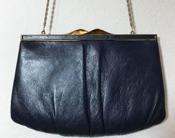 1970s Clutch Navy Blue Ande Faux Leather Cocktail Handbag Purse