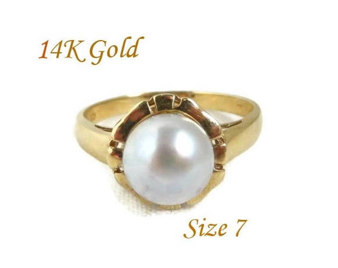14K Gold Pearl Ring - Vintage Saltwater Cultured Pearl Ring, Size 7, Perfect, Gift, Gift Box