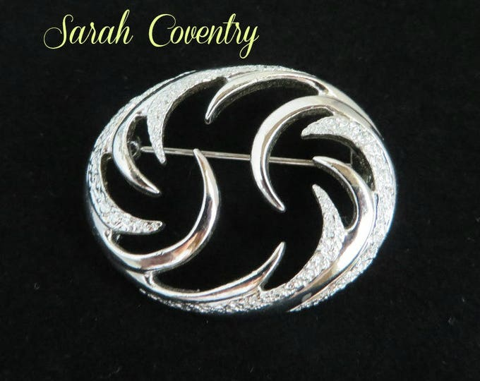 Sarah Coventry Brooch, Vintage Oval Swirl Silver Tone Pin, Classic Gift, Gift Box, FREE SHIPPING