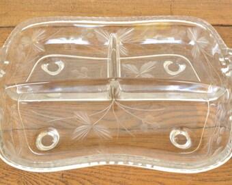 Crystal Relish Dish, Divided Cut Glass Dish, Holiday Table