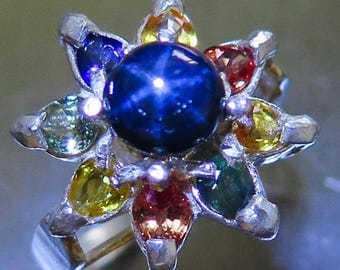 1.30cts Natural Royal blue ray star sapphire & multi-colour sapphires Sterling .925 Silver floral ring All sizes