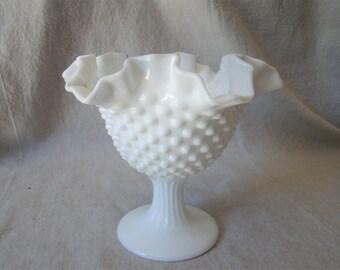 Vintage Fenton Hobnail Milk Glass White Ruffled Pedestal Bowl 211606