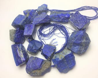 "16"" Chunky 700 grams  Natural Hamme Cut  Lapis Lazuli Beads Strand Necklace Afghanistan"
