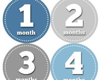 Monthly Baby Milestone Stickers Baby Boy Baby Shower Gift One-Piece Baby Stickers Monthly Baby Stickers Baby Month Sticker 052