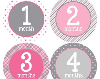 Monthly Baby Stickers Baby Month Stickers Baby Girl Month Stickers Monthly Photo Stickers Monthly Milestone Stickers 295