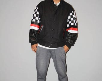 Closing SALE - Vintage 1980s Ford Motors Company Logo Racing Stripes Leather Sleeve Letterman Varsity Jacket -  Hip Hop Jacket - Vetements -