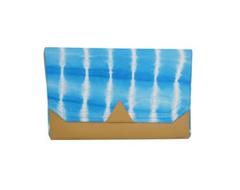 Lambskin graphic tie & dye Blue and camel leather pouch.