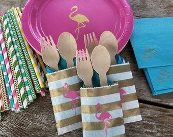 ALOHA flamingo utensil packets gold pink teal wood tropical island Luau Hawaiian party  bridal baby shower flamingle wedding palm tree