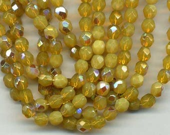 10 beads 6 mm iridescent white yellow