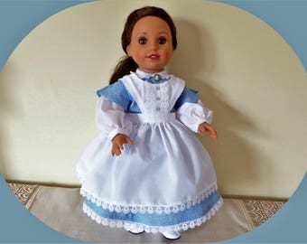 """Civil War Day Dress fits American Doll/Historical Colonial Girl Doll Dress with Pantaloons,Apron, Cameo Brooch/FREE SHIPPING!/18 """" Doll/ag"""