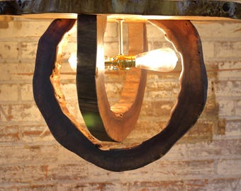Hollow Log Ceiling Mounted Fixture - Live Edge Walnut Light Fixture - Natural Rustic Wood Log Home Lighting