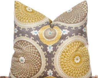 SALE ENDS SOON Taupe Throw Pillow Case,Yellow Pillows, Modern Pillow Covers, Gray Floral Pillows, Geometric Circles, Sizes 12  14  16  18  2