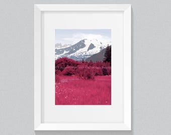Mountain Art, Nature Art, Alaska, Alaska Art, Pink Fields, Landscape Art, Nature Home Decor, Nature Wall Art, Mountain Art Prints
