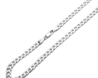4.5mm 925 Sterling Silver Necklaces Italian Solid Curb Link Chain made in italy(SNCP610082)