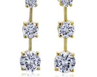14K Yellow Gold Round Cubic Zirconia Three Stone Journey Stud Earrings(DJBEY08)