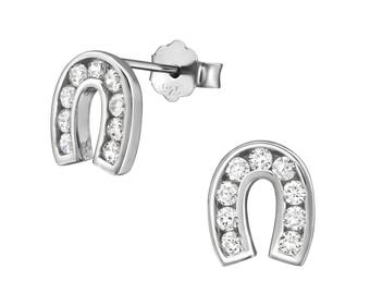 CZ Horseshoe Stud Earrings 925 Sterling Silver - ES002RP
