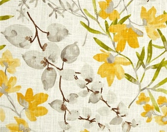 SHIPS SAME DAY   Yellow Grey Floral Linen Upholstery Fabric, Modern Floral Material, Gazebo Sunsine Yellow Home Decor Fabric - By the Yard