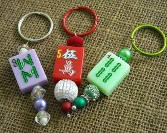 Mahjong Pendant - Mahjong Purse Charm - Oriental Key Ring or Pendant - Mahjong Key Ring - Mahjong Accessory - Holiday Gift