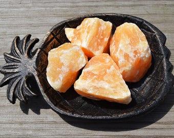 ORANGE CALCITE Stone of Happiness Positive Energy Good Vibes, Sacral Chakra Stone, Raw Orange Calcite Rock, Calcite Crystal, Rough Calcite