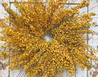 """Yellow Painted Pennycress and Birch Wreath - 26"""""""