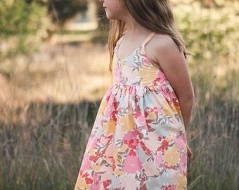 Hummingbird dress , girls floral summer dress, Easter dress