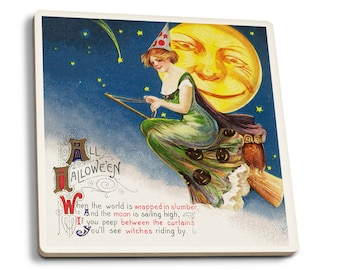 Halloween Witch Broom Full Moon - Vintage Holiday (Set of 4 Ceramic Coasters)